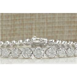 7.50 CTW Natural Diamond Bracelet In 18K Solid White Gold