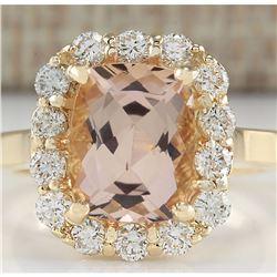 3.75 CTW Natural Morganite And Diamond Ring 18K Solid Yellow Gold