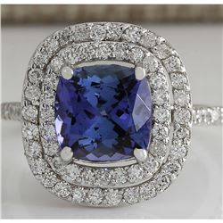 3.82 CTW Natural Blue Tanzanite And Diamond Ring In 18K White Gold
