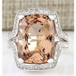 11.98 CTW Natural Morganite And Diamond Ring In 18K White Gold