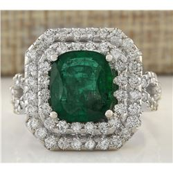 5.31 CTW Natural Emerald And Diamond Ring In 18K White Gold