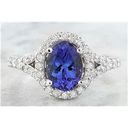 2.66 CTW Tanzanite 18K White Gold Diamond Ring