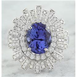 4.49 CTW Tanzanite 18K White Gold Diamond Ring