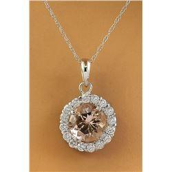 1.82 CTW Morganite 14K White Gold Diamond Necklace