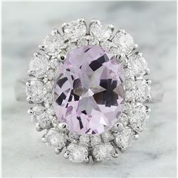 6.20 CTW Kunzite 14K White Gold Diamond Ring