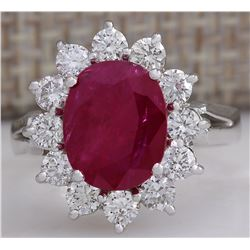 4.03 CTW Natural Red Ruby Diamond Ring 18K Solid White Gold