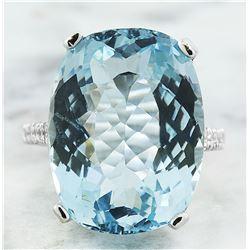 14.35 CTW Aquamarine 14K White Gold Diamond Ring