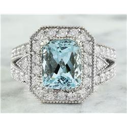 4.68 CTW Aquamarine 18K White Gold Diamond Ring