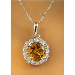 1.82 CTW Citrine 18K White Gold Diamond Necklace