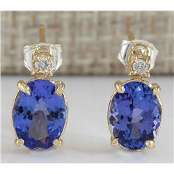 2.36 CTW Natural Blue Tanzanite And Diamond Earrings In 18K Yellow Gold
