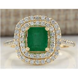 1.96 CTW Natural Colombian Emerald And Diamond Ring In 14K Yellow Gold