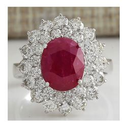 5.80 CTW Natural Ruby And Diamond Ring 18K Solid White Gold