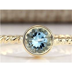 1.00 CTW Natural Aquamarine Ring In 14k Yellow Gold