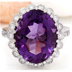 12.32 CTW Natural Amethyst 14K Solid White Gold Diamond Ring