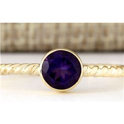 1.00 CTW Natural Amethyst Ring In 14k Yellow Gold