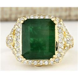 6.50 CTW Natural Emerald And Diamond Ring In 18K Yellow Gold