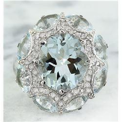 8.00 CTW Aquamarine 18K White Gold Diamond Ring