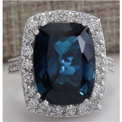 13.24 CTW Natural London Blue Topaz And Diamond Ring In18K Solid White Gold