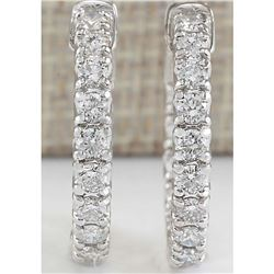 2.50 CTW Natural Diamond Hoop Earrings In 14k White Gold