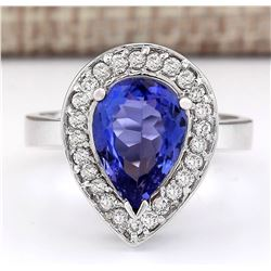 3.13 CTW Natural Blue Tanzanite And Diamond Ring 14k Solid White Gold