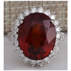 18.43 CTW Natural Red Hessonite Garnet And Diamond Ring In 14K White Gold