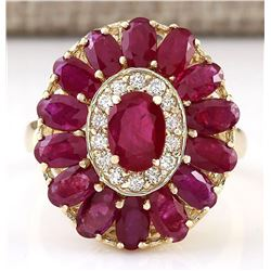4.42 CTW Natural Ruby And Diamond Ring In 18K Yellow Gold