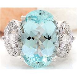 11.18 CTW Natural Aquamarine 18K Solid White Gold Diamond Ring