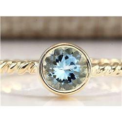 1.00 CTW Natural Aquamarine Ring In 18K Yellow Gold