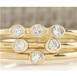 0.24 CTW Diamond Ring In 18K Solid Yellow Gold