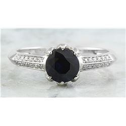 1.19 CTW Sapphire 18K White Gold Diamond Ring