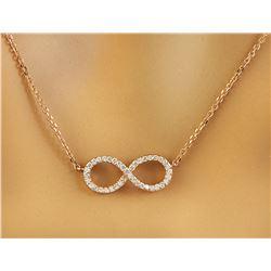 0.30 CTW Diamond 18K Rose Gold Eternity Pendant Necklace