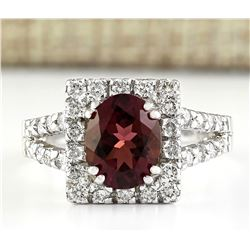 2.77 CTW Natural Pink Sapphire And Diamond Ring In 18K White Gold