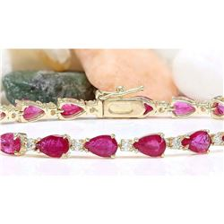 9.50 CTW Natural Ruby 14K Solid Yellow Gold Diamond Bracelet