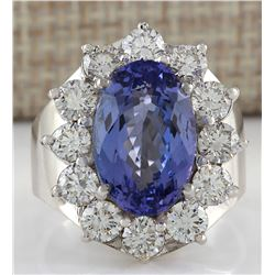9.35 CTW Natural Blue Tanzanite And Diamond Ring 18K Solid White Gold
