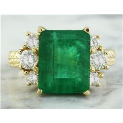 6.10 CTW Emerald 18K Yellow Gold Diamond Ring