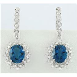 9.75 CTW Topaz 14K White Gold Diamond Earrings