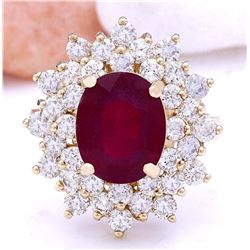 6.30 CTW Natural Ruby 18K Solid Yellow Gold Diamond Ring