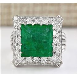 9.50 CTW Natural Emerald And Diamond Ring In 18K White Gold