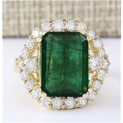 6.40 CTW Natural Emerald And Diamond Ring In 18K Yellow Gold