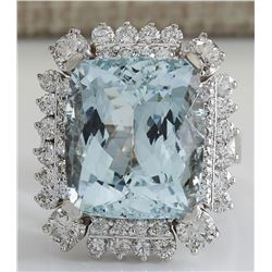 16.54 CTW Natural Aquamarine And Diamond Ring In 18K Solid White Gold