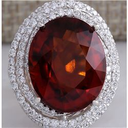 20.25 CTW Natural Hessonite Garnet And Diamond Ring In14K White Gold