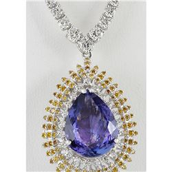 25.48 CTW Natural Tanzanite And Diamond Necklace 14k Solid White Gold