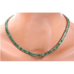 48.00 CTW Natural Emerald 14K Solid Yellow Gold Necklace