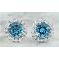 3.65 CTW Topaz 18K White Gold Diamond Earrings