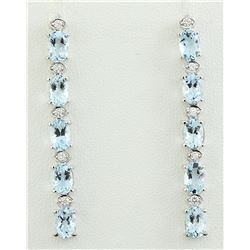4.53 CTW Aquamarine 18K White Gold Diamond Earrings