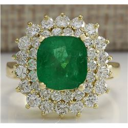 4.34 CTW Natural Emerald And Diamond Ring 18K Solid Yellow Gold