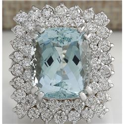 10.12 CTW Natural Aquamarine And Diamond Ring In 18K Solid White Gold