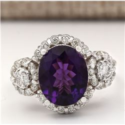4.42 CTW Natural Amethyst And Diamond Ring In 18K White Gold