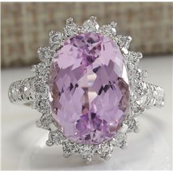 9.96 CTW Natural Kunzite And Diamond Ring In 18K Solid White Gold