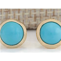 3.00 CTW Natural Turquoise Earrings 18K Solid Yellow Gold